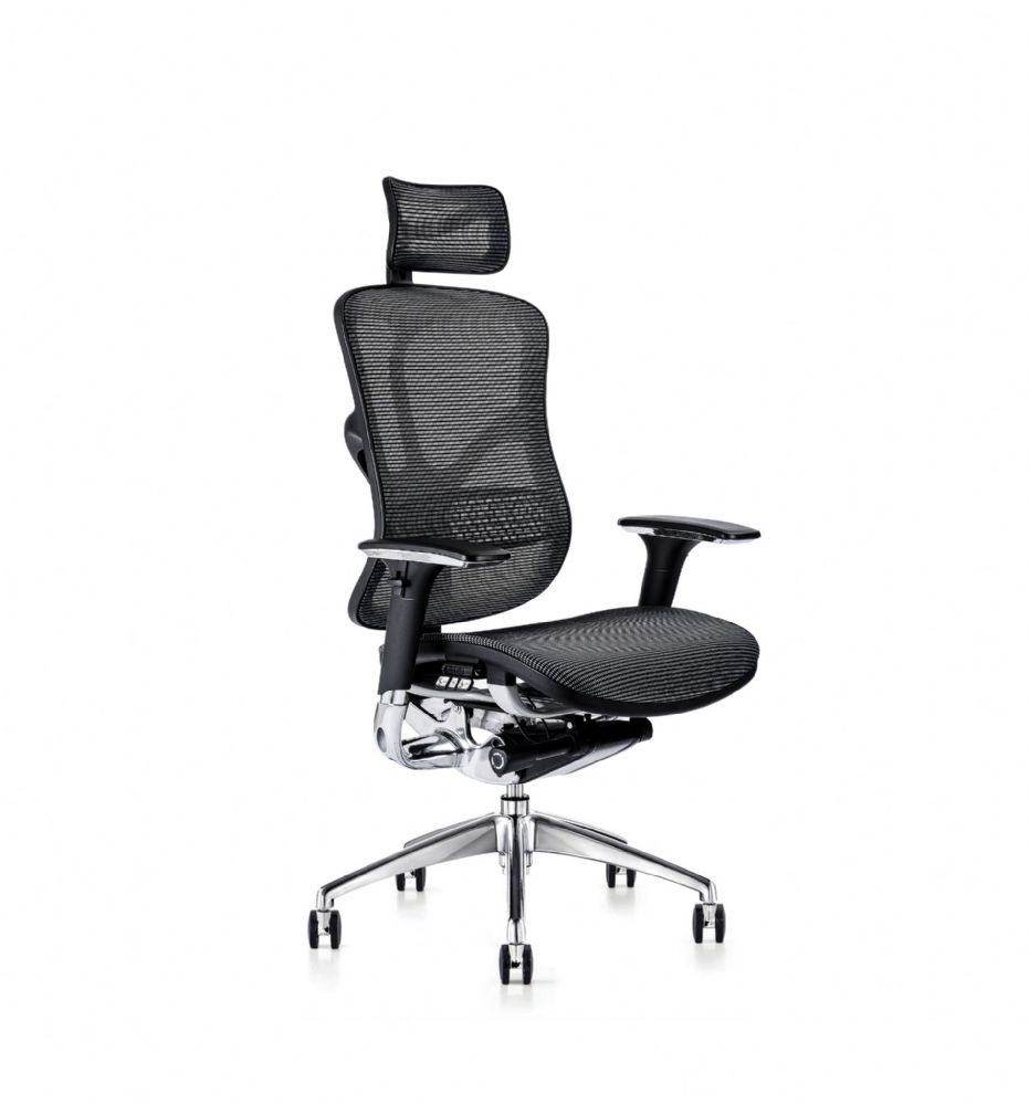 F94 103 Series Ergonomic Chair By Hood Seating In Black Mesh With 3 Pictorial Levers And 4D Arms
